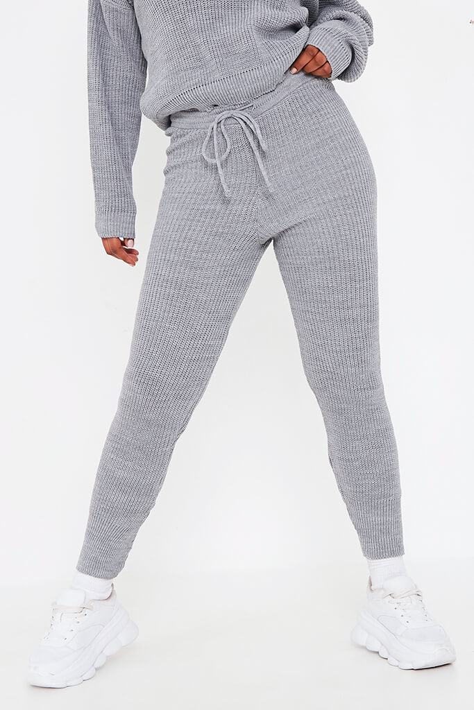 Grey Knitted Slash Neck Jumper And Jogger Set view 4