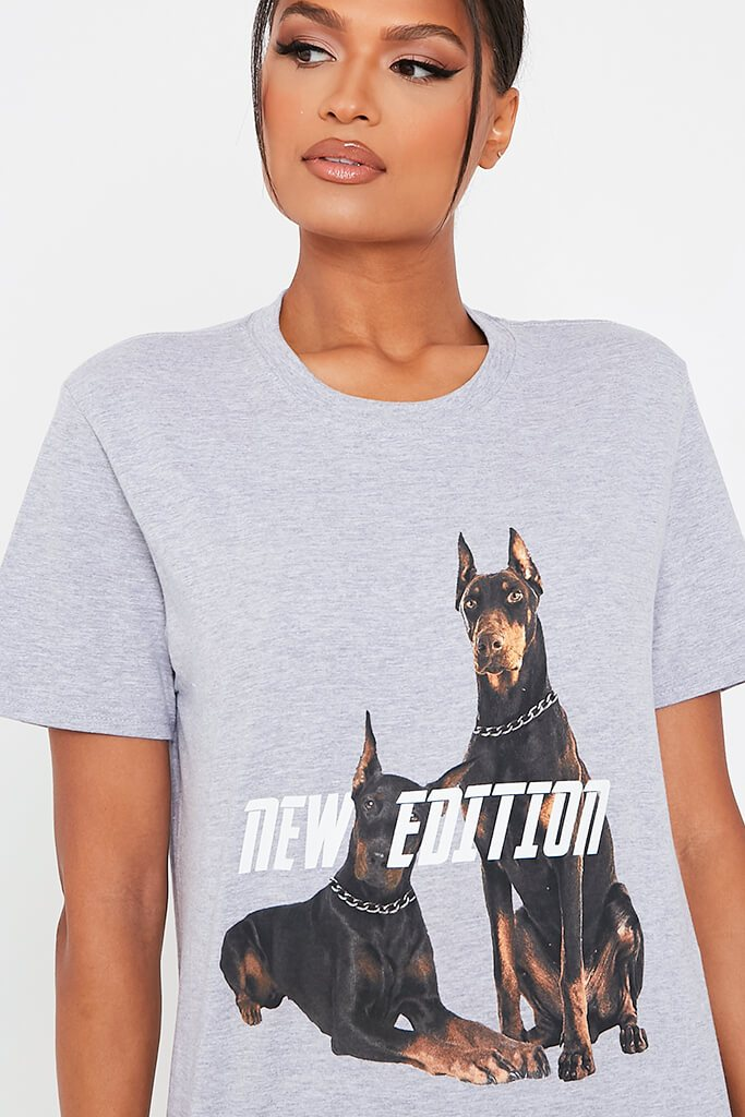 Grey New Edition Dog Oversized T Shirt view 4