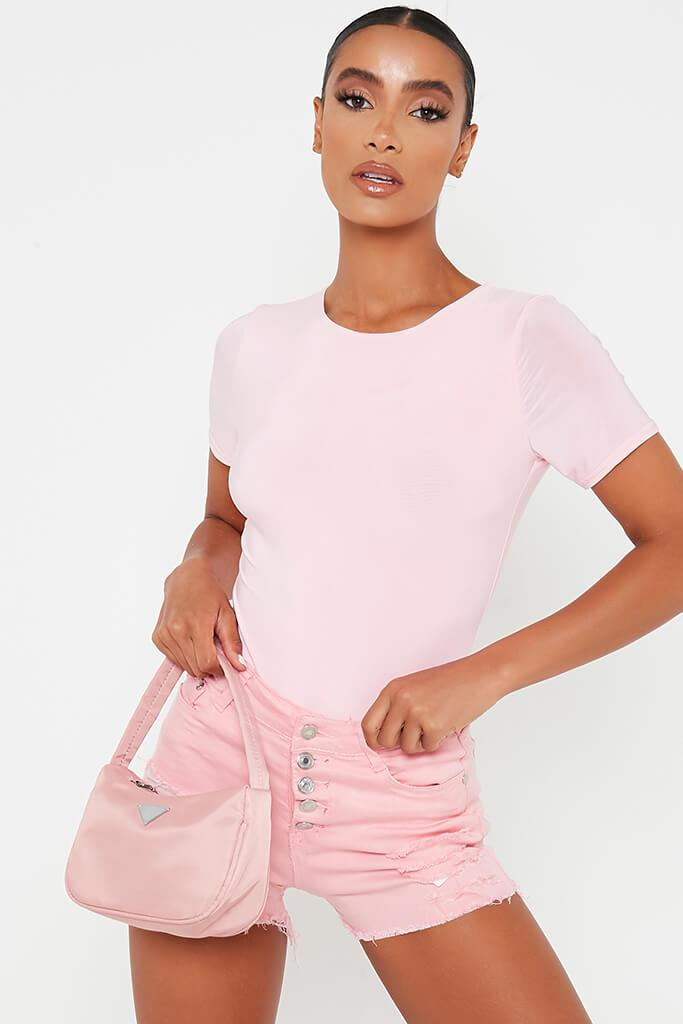 Pink Double Layer Short Sleeve Bodysuit view 2