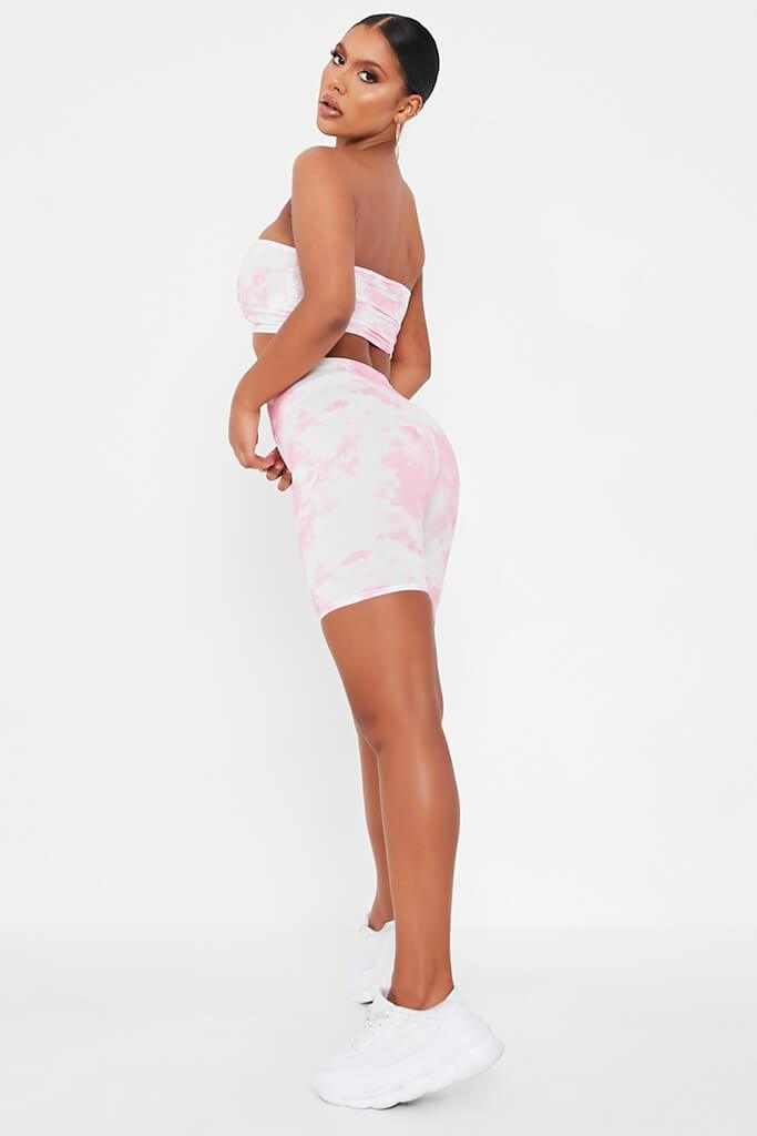 Pink Tie Dye Cycling Shorts view 3