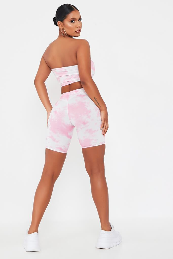 Pink Tie Dye Cycling Shorts view 5
