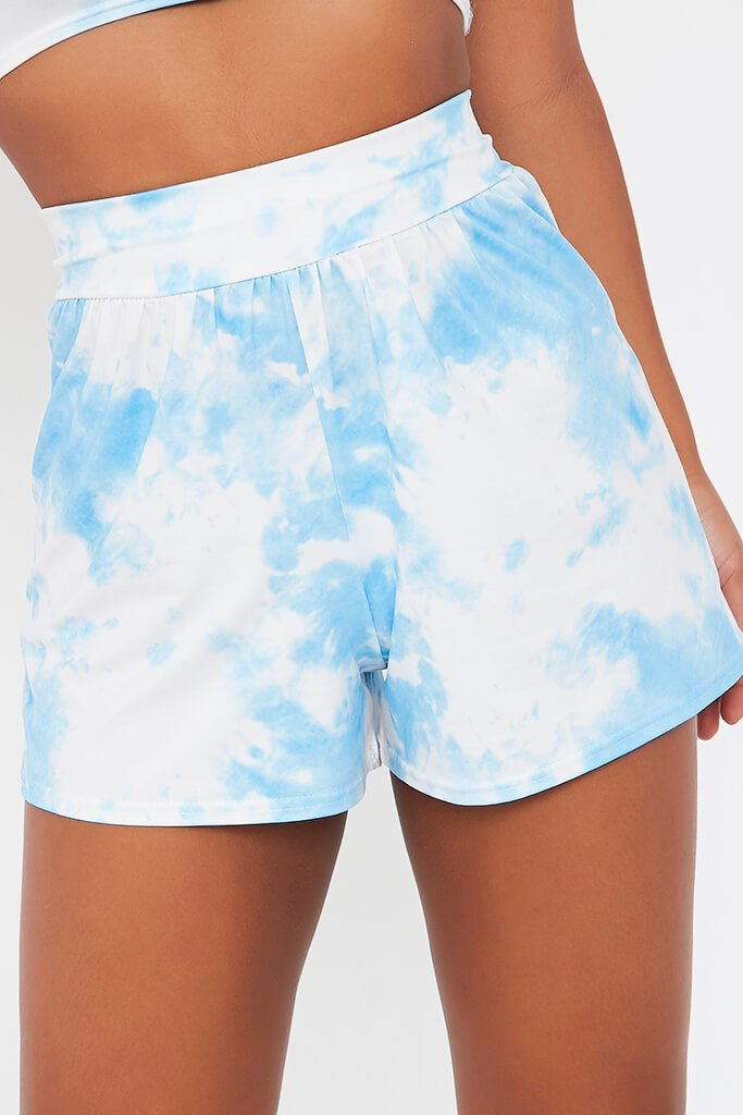 Blue Tie Dye High Waisted Loose Fit Shorts view 4