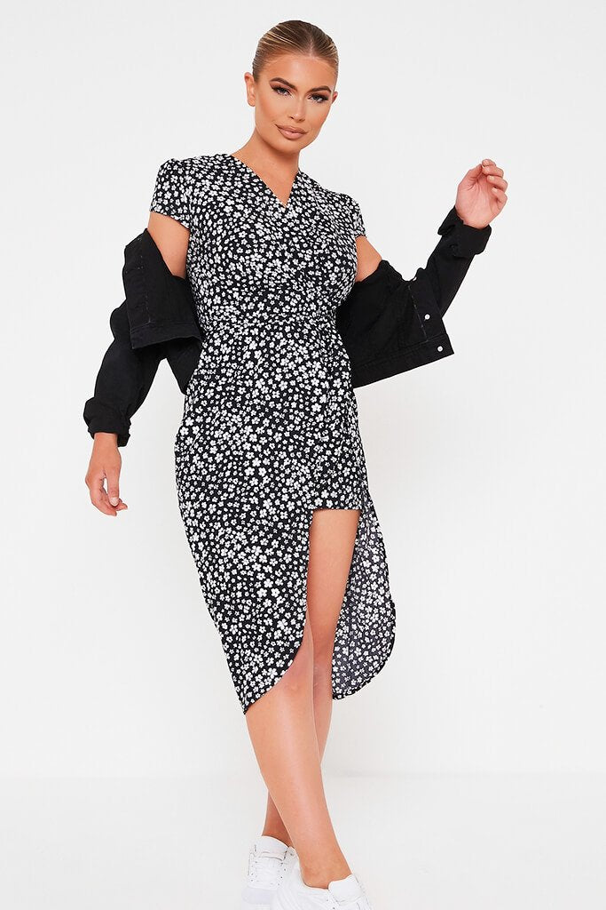 Black Floral Woven Wrap Puff Sleeve Tea Dress view 2