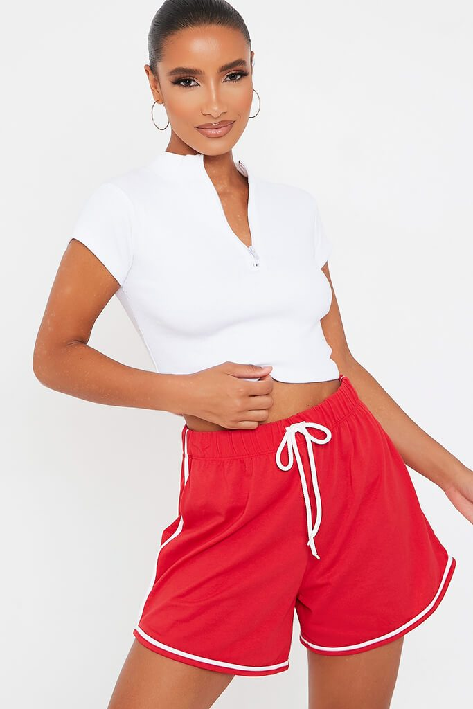 Red Side Stripe Jogger Short view main view