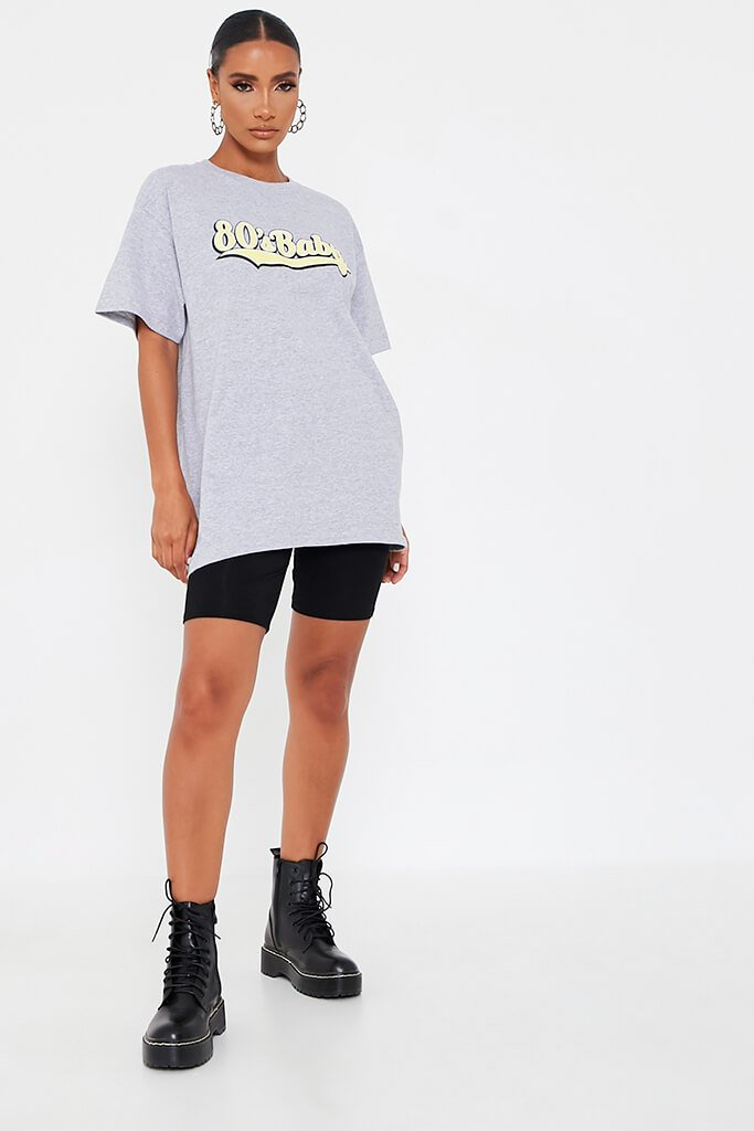 Grey Marl 80'S Baby Oversized T-Shirt view 2