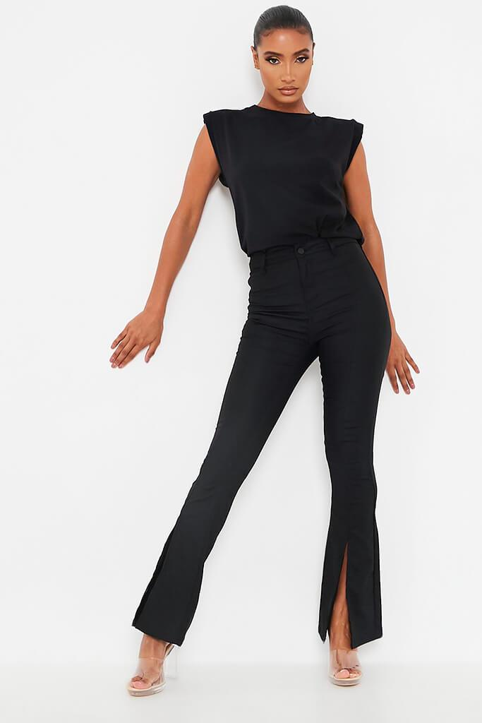 Black Split Front High Waisted Flare Jean