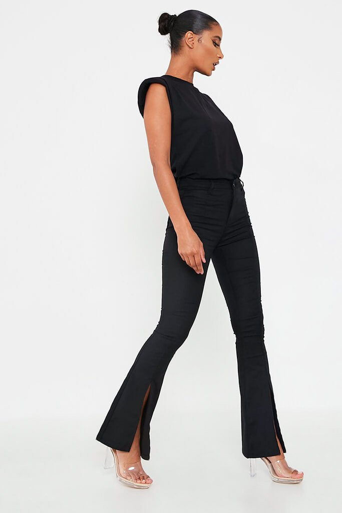 Black Split Front High Waisted Flare Jean view 3