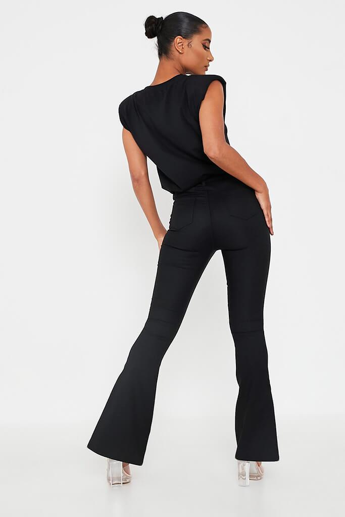 Black Split Front High Waisted Flare Jean view 5
