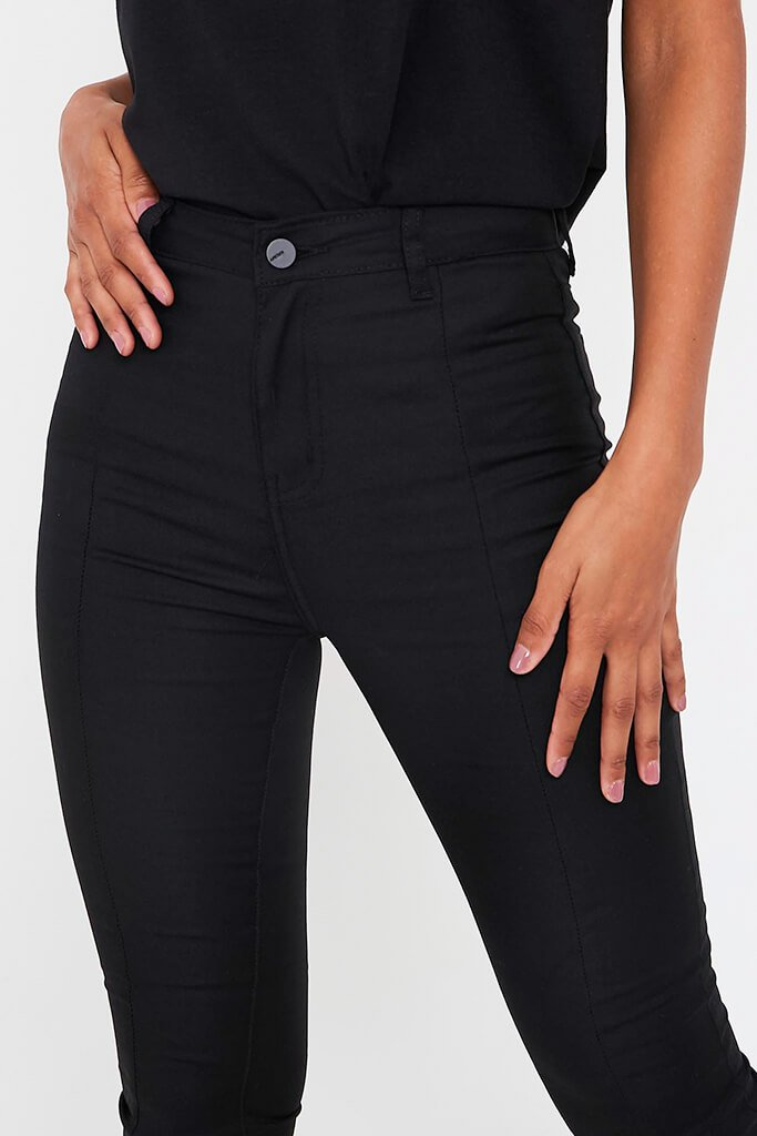 Black Split Front High Waisted Flare Jean view 4