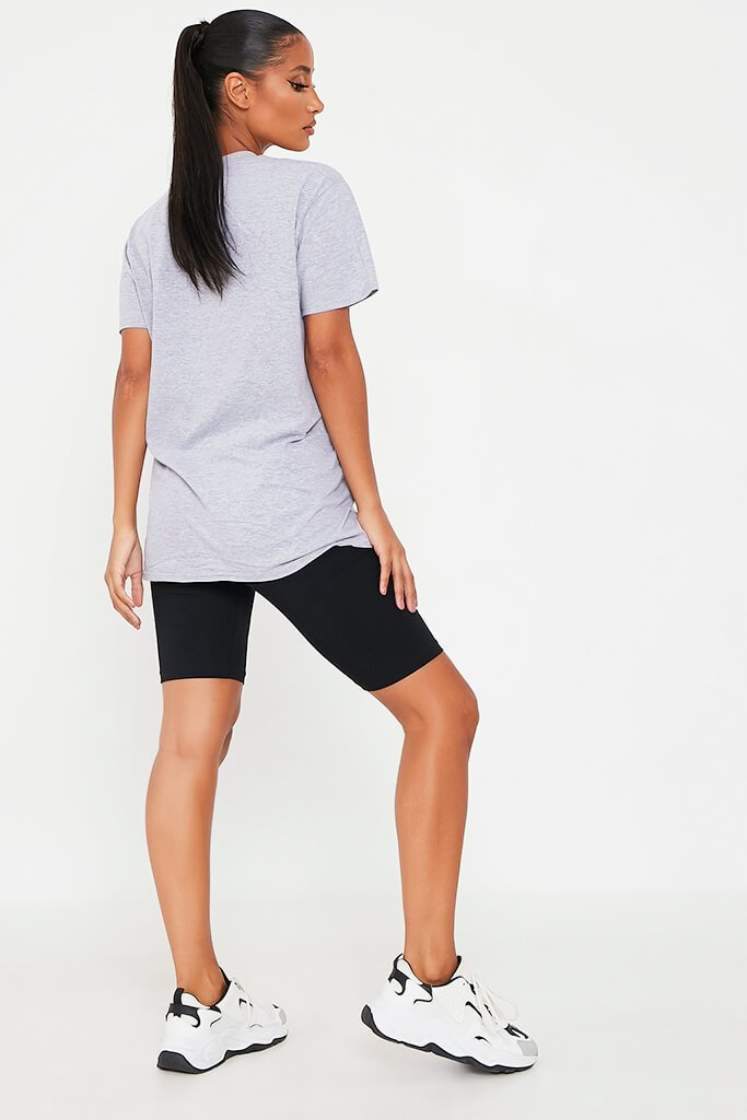 Grey Marl Petite Honey Slogan T-Shirt view 5