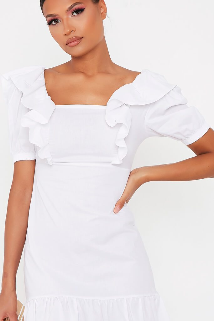 White Cotton Poplin Frill Puff Sleeve Smock Dress view 4
