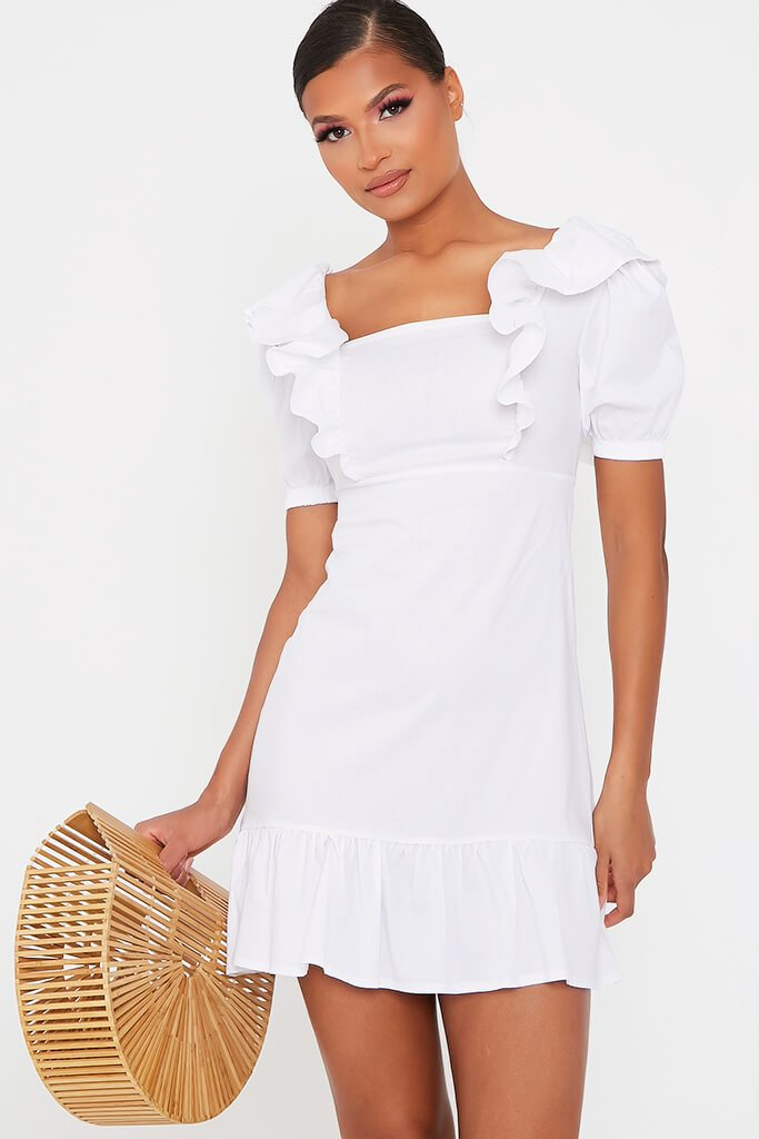 White Cotton Poplin Frill Puff Sleeve Smock Dress