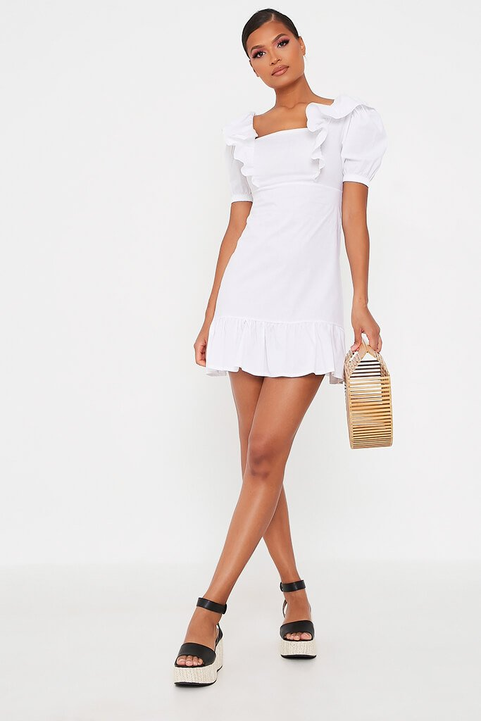 White Cotton Poplin Frill Puff Sleeve Smock Dress view 2