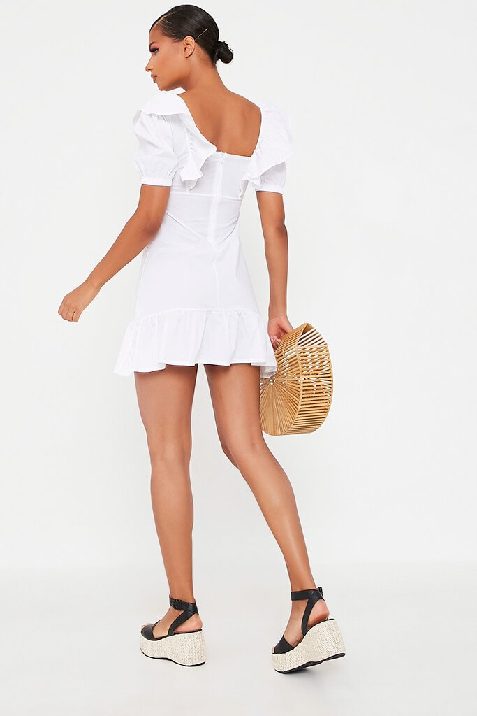 White Cotton Poplin Frill Puff Sleeve Smock Dress view 5