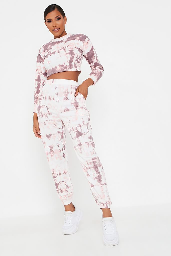 Baby Pink Tie Dye Elasticated Waist Casual Joggers view main view