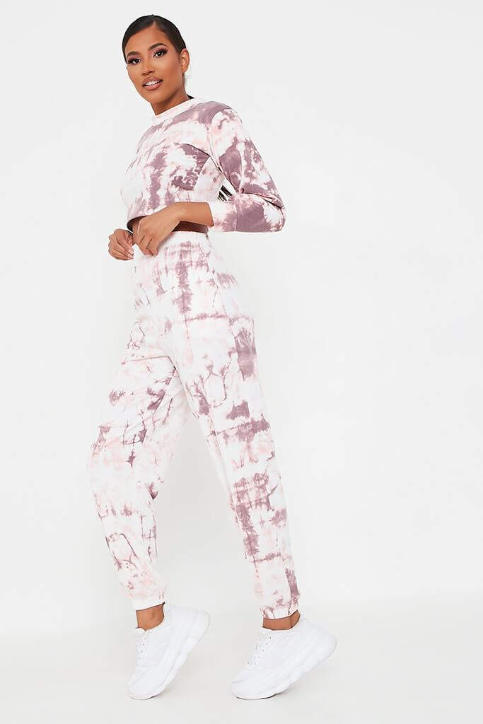 Baby Pink Tie Dye Elasticated Waist Casual Joggers view 3