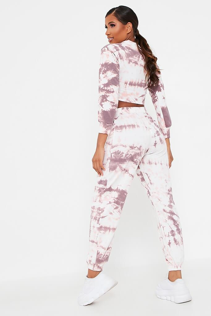 Baby Pink Tie Dye Elasticated Waist Casual Joggers view 5