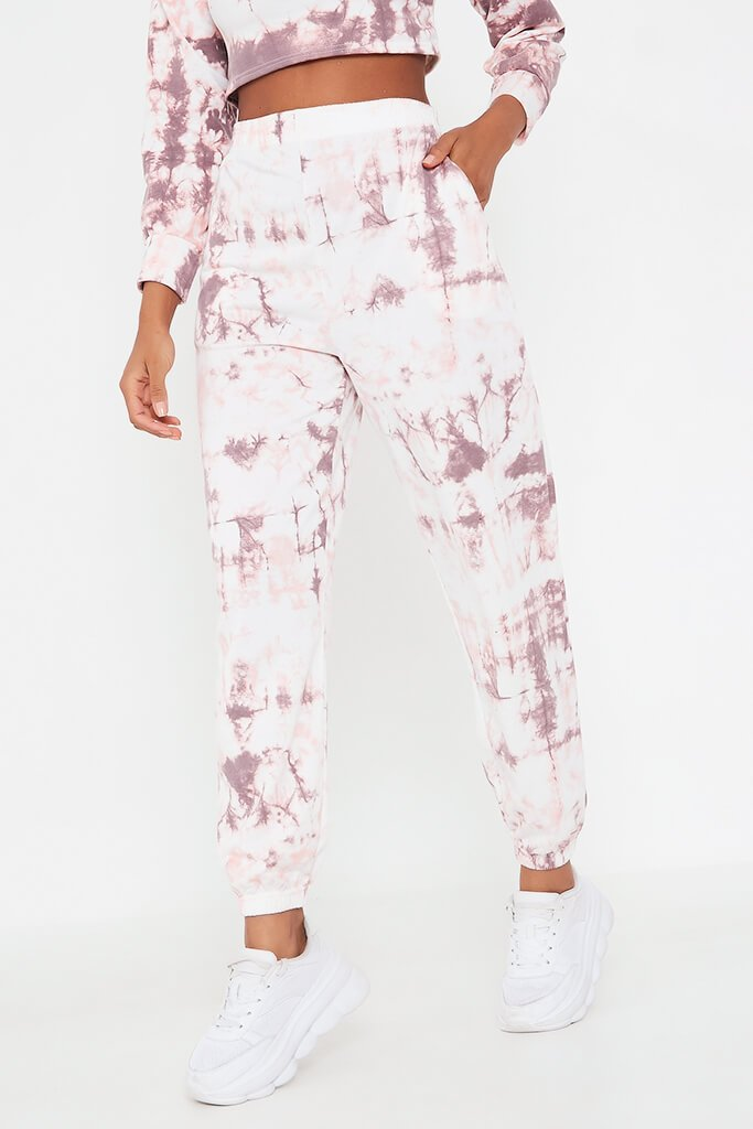 Baby Pink Tie Dye Elasticated Waist Casual Joggers view 2