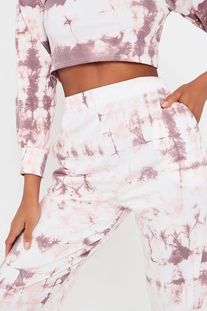 Baby Pink Tie Dye Elasticated Waist Casual Joggers view 4