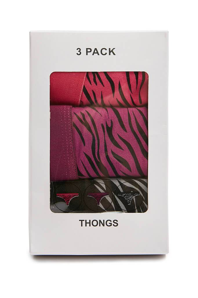 Multi Multi 3 Pack Leopard Print Jersey Thongs view 3