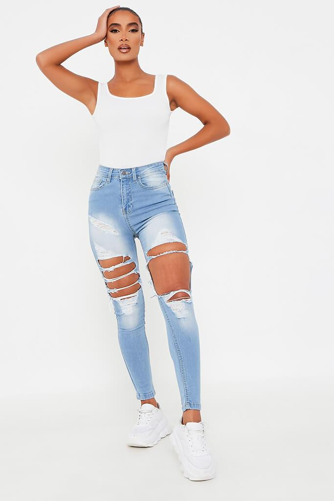 Light Wash Extreme Ripped Skinny Jean