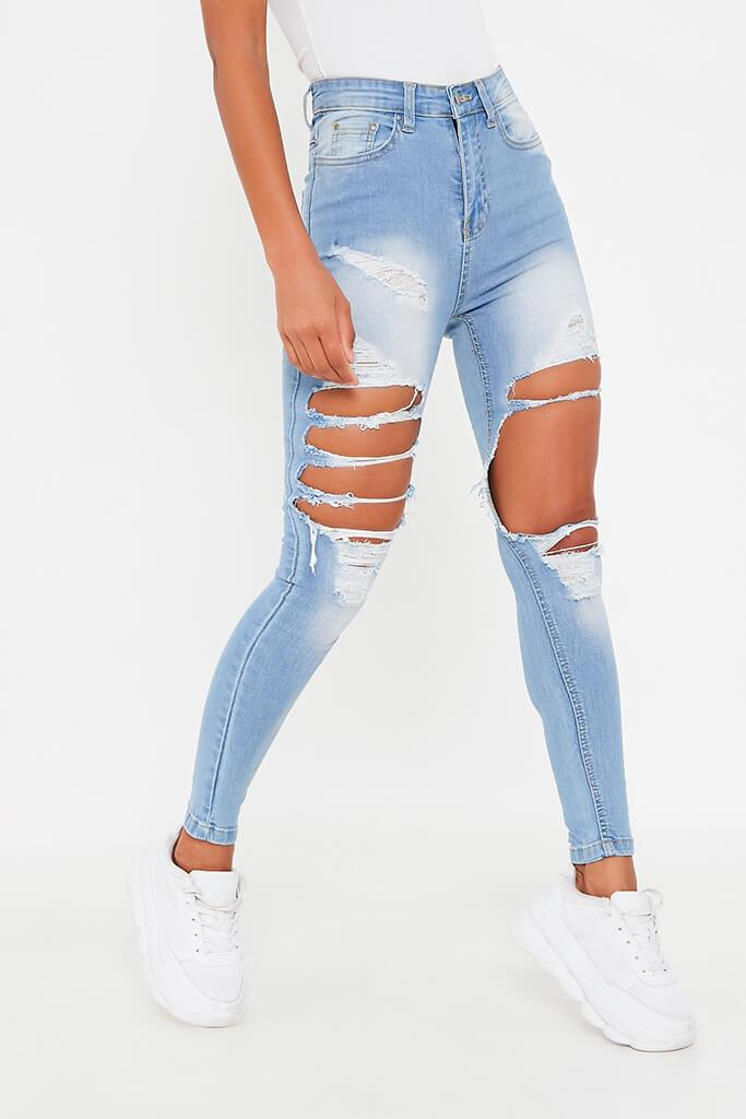 Light Wash Extreme Ripped Skinny Jean view 2