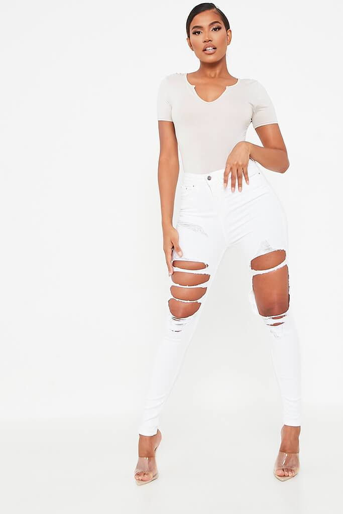 White Extreme Ripped Skinny Jean