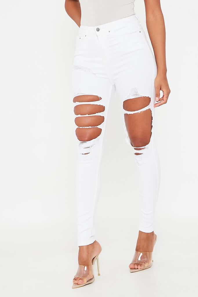 White Extreme Ripped Skinny Jean view 2