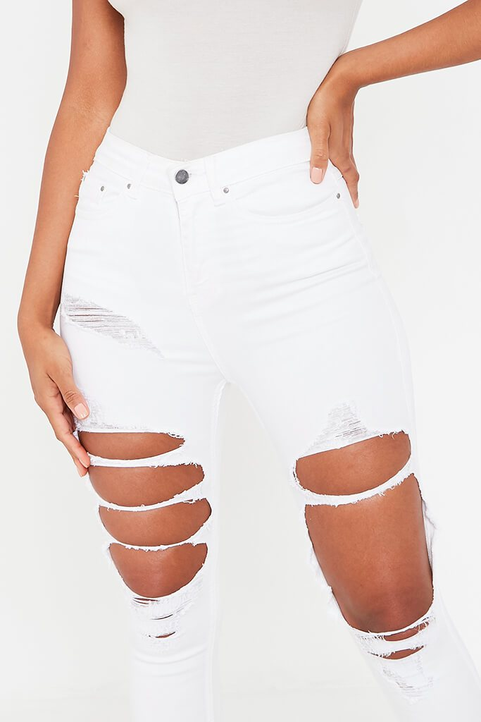 White Extreme Ripped Skinny Jean view 4