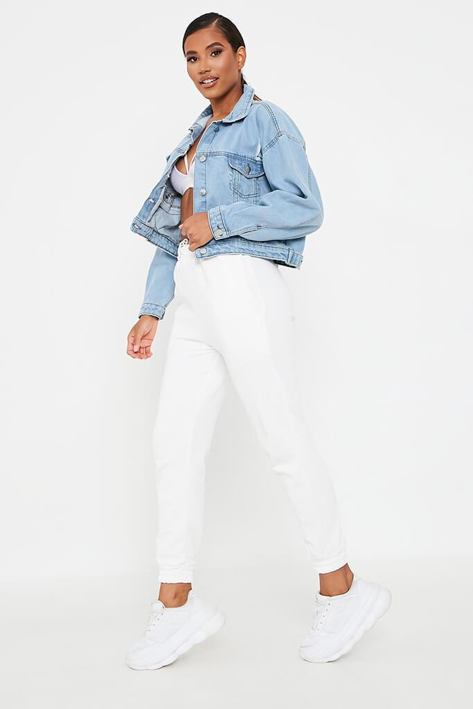 Light Wash Distressed Oversized Denim Jacket view 3