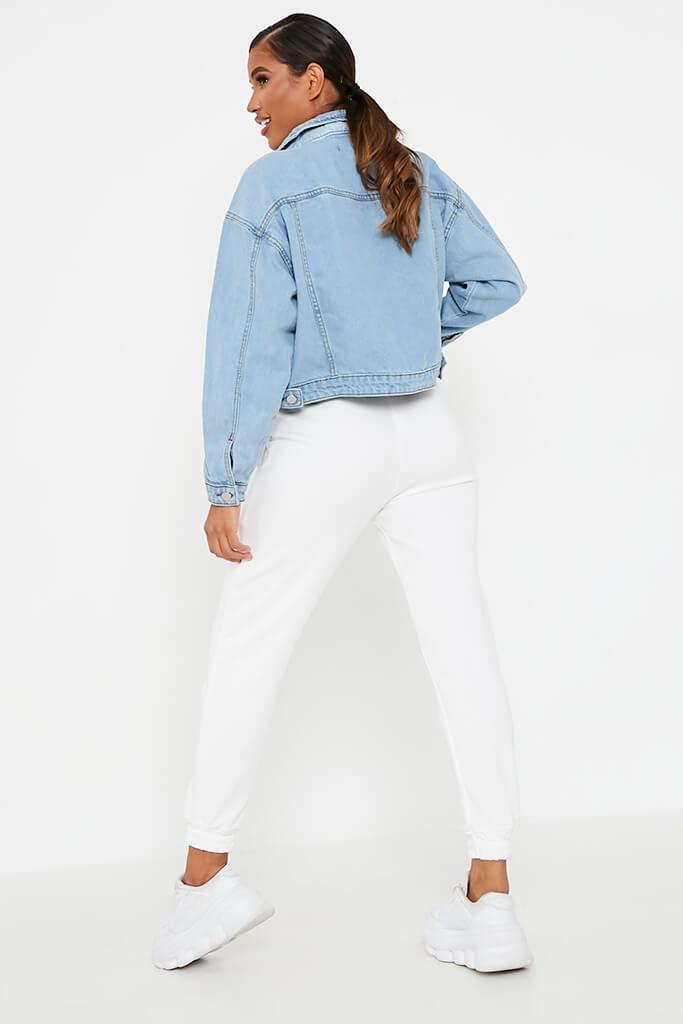 Light Wash Distressed Oversized Denim Jacket view 5