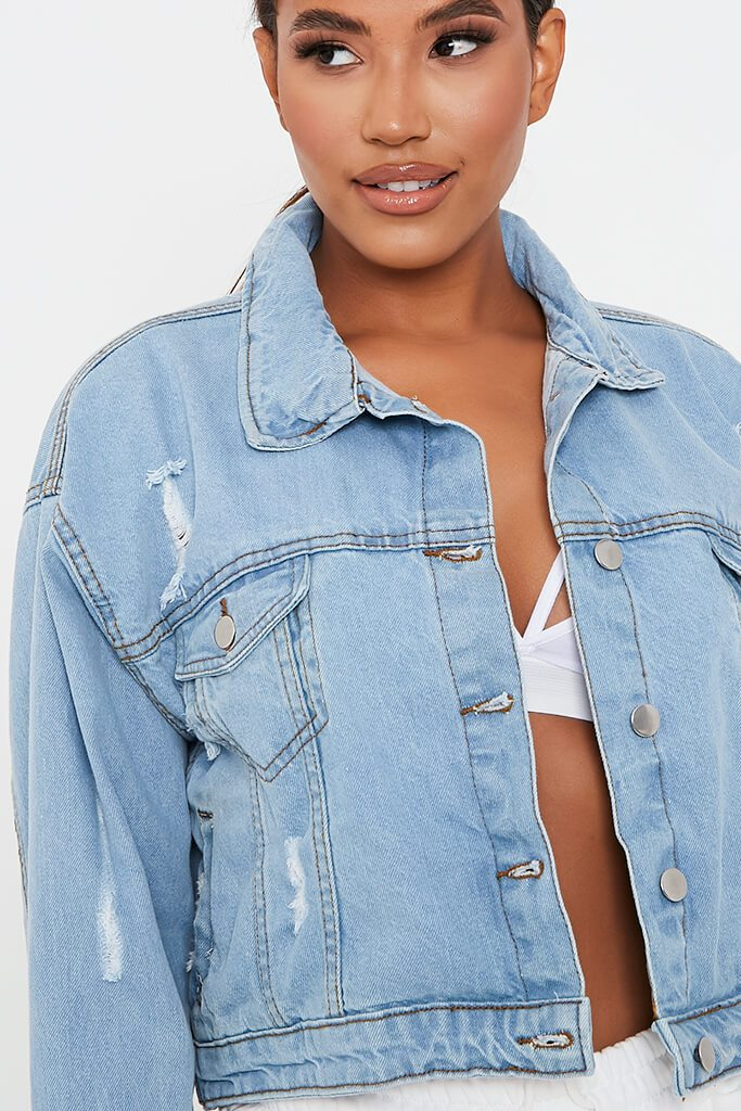 Light Wash Distressed Oversized Denim Jacket view 4