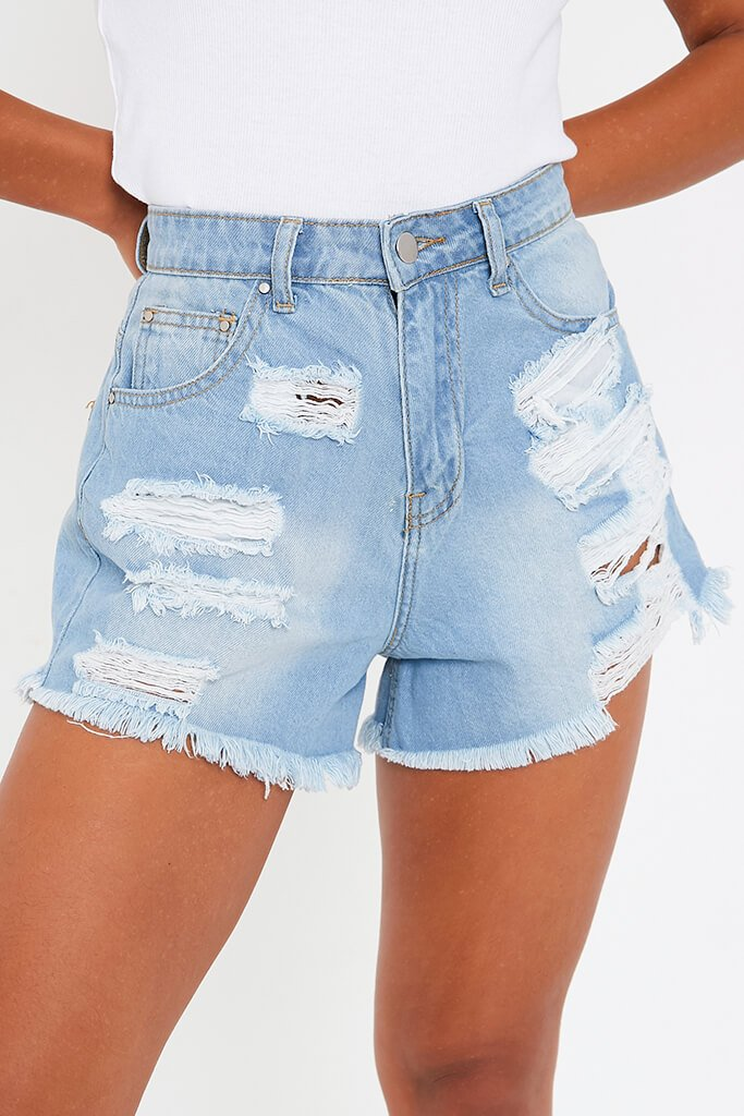 Light Wash High Waisted Distressed Hem Denim Shorts view 4