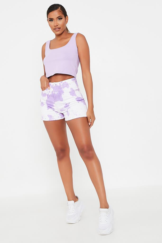 Lilac 5 Pocket Denim Shorts view 3