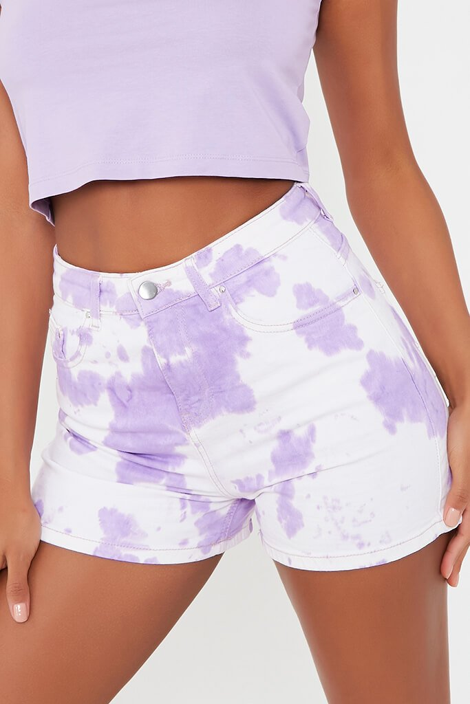 Lilac 5 Pocket Denim Shorts view 4