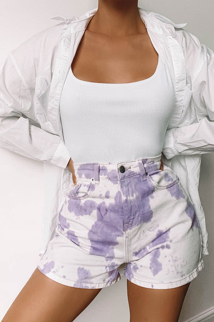 Lilac 5 Pocket Denim Shorts