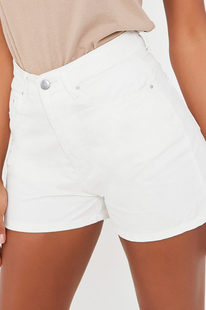 White 5 Pocket Denim Shorts view 4
