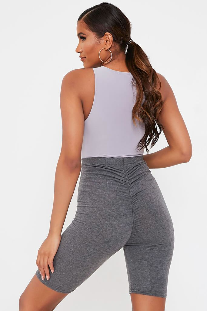 Charcoal Jersey Bum Ruched Cycling Short