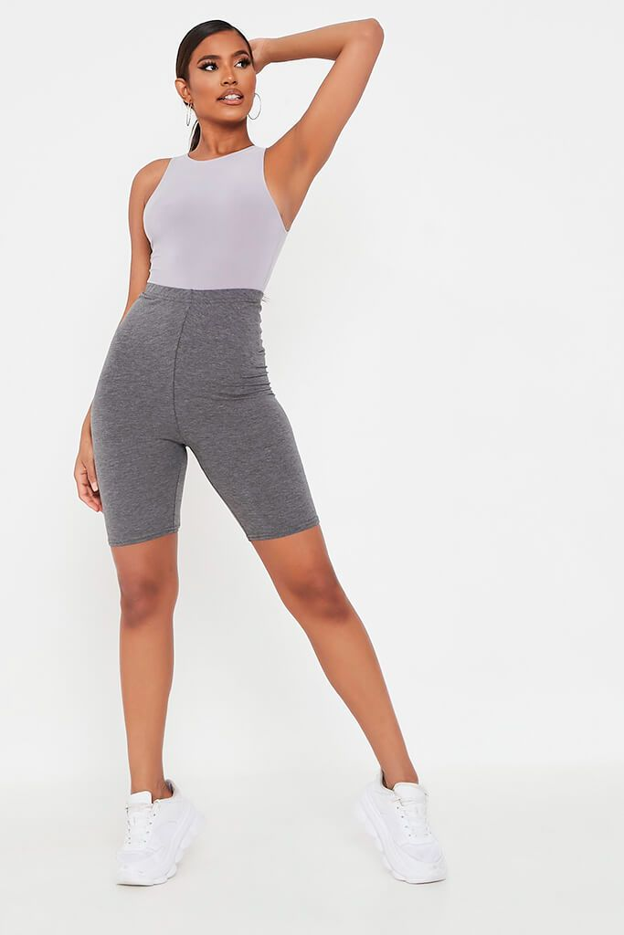Charcoal Jersey Bum Ruched Cycling Short view 2