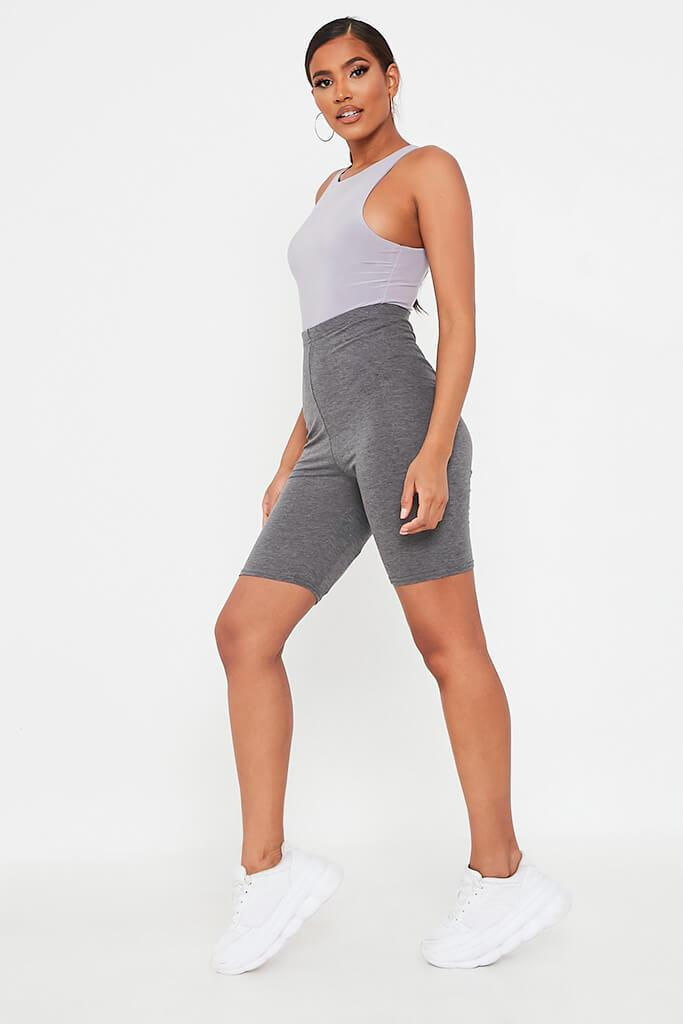 Charcoal Jersey Bum Ruched Cycling Short view 3