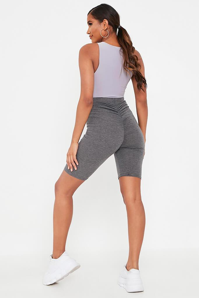 Charcoal Jersey Bum Ruched Cycling Short view 5