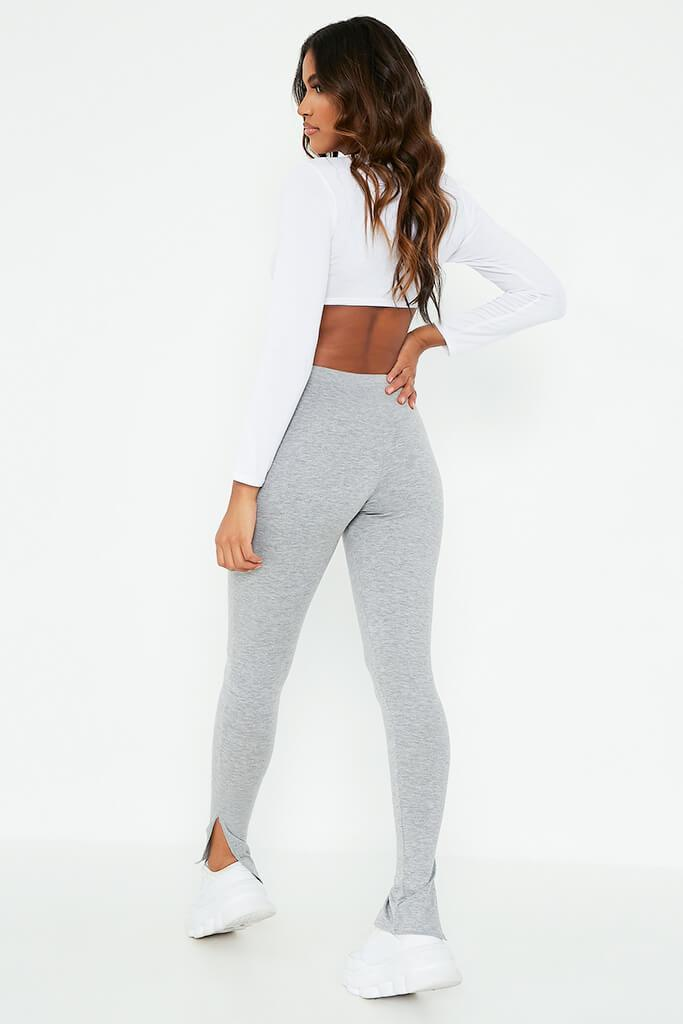 Grey Marl Jersey Split Hem Leggings view 5