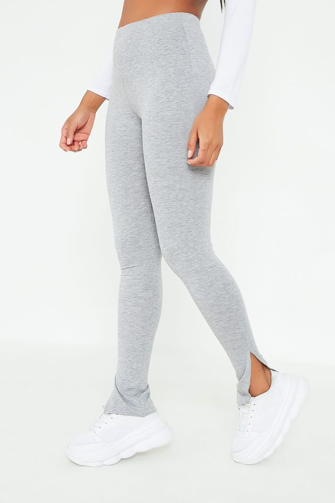 Grey Marl Jersey Split Hem Leggings view 2