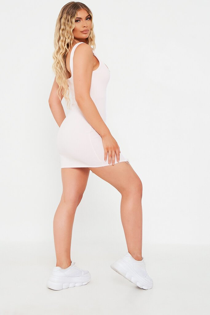 Baby Pink Crepe Hook And Eye Bodycon Dress view 3