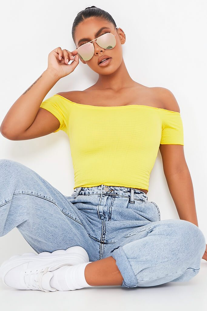 Yellow Shirred Bardot Crop Top