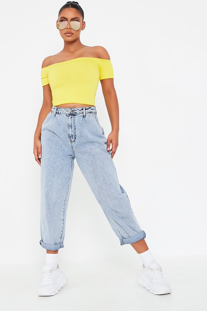 Yellow Shirred Bardot Crop Top view 2
