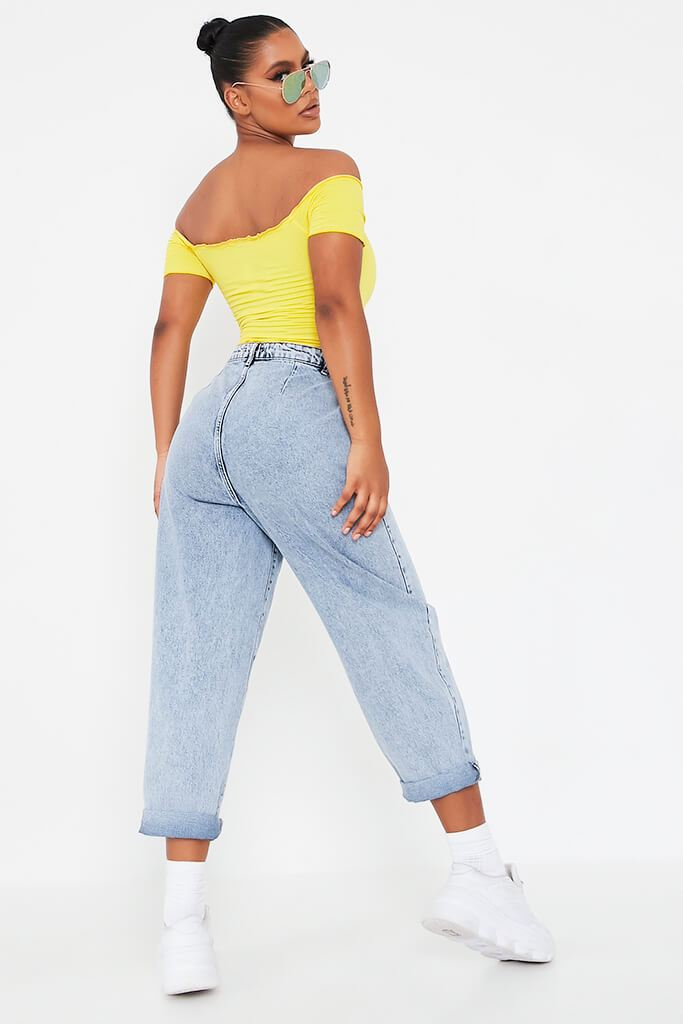 Yellow Shirred Bardot Crop Top view 5