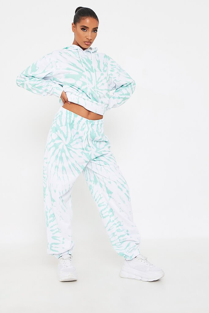 Mint Green Tie Dye Print Basic Jogger