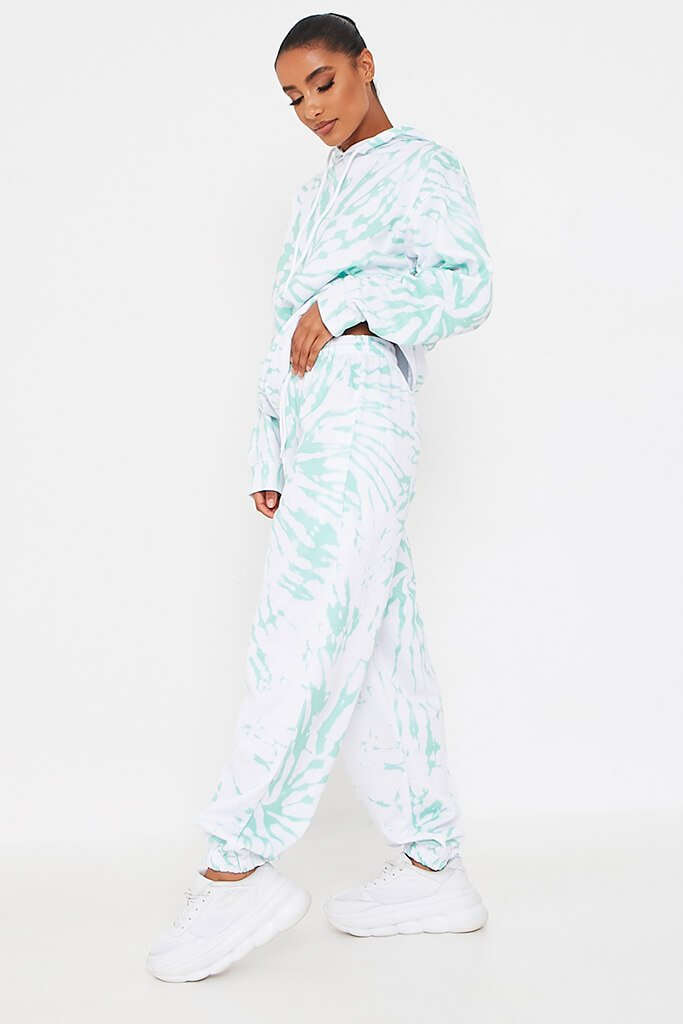 Mint Green Tie Dye Print Basic Jogger view 3