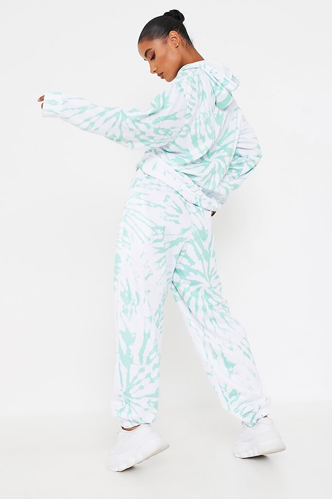Mint Green Tie Dye Print Basic Jogger view 5